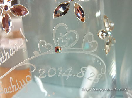 名入れグラス お花デコとハート彫刻
