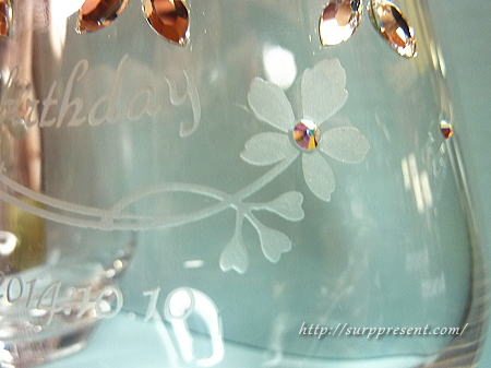 名入れグラス お花のデコデザイン