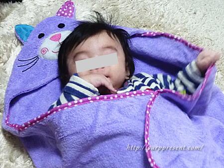 赤ちゃん用 フード付きバスタオル レビュー