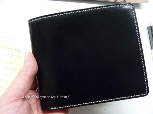 グレンチェック ブライドルレザー二つ折り財布