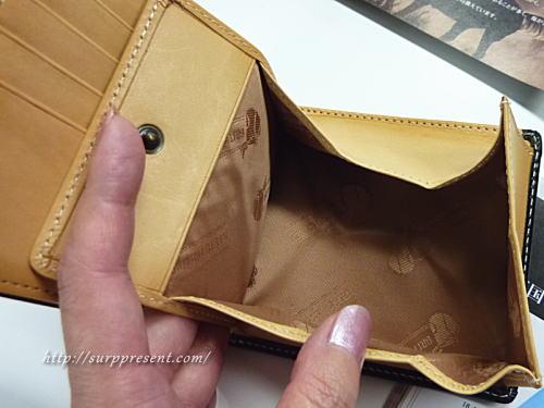 ブライドルレザー二つ折り財布 小銭が取り出しやすいコインケース