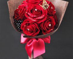 枯れない花瓶付きの花束!メッセージ入り選べるアートフラワー花束